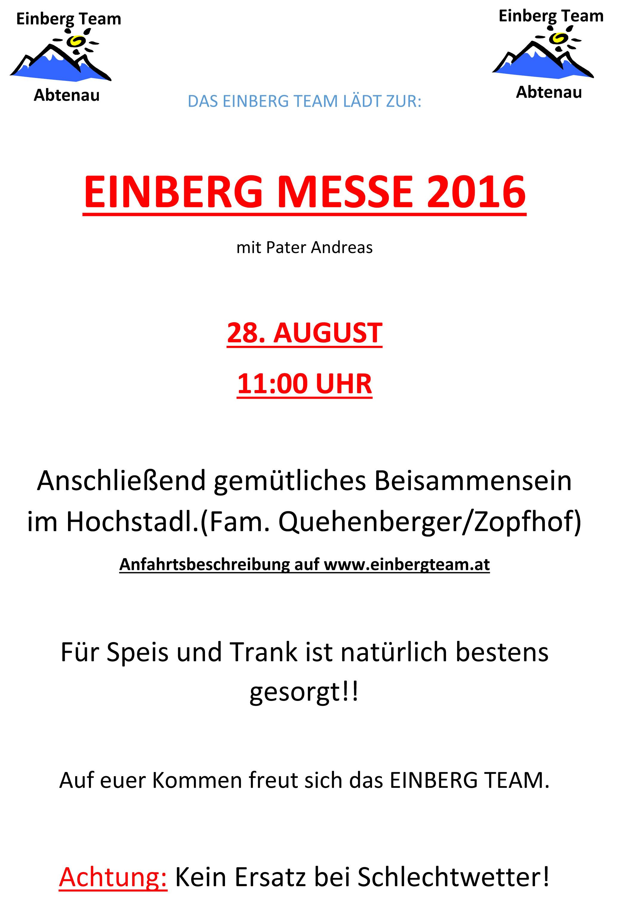 einberg-messe 2016 – einladung | einbergteam, Einladung